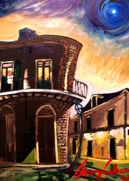 Cityscape Greeting Card featuring the painting Royal St Sunrise 2 by Amzie Adams