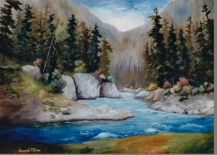 Landscape Greeting Card featuring the painting Rushing Waters by Brenda Thour