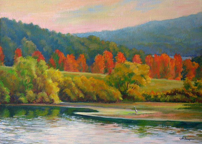 Landscape Greeting Card featuring the painting Scarlet Ribbon by Keith Burgess