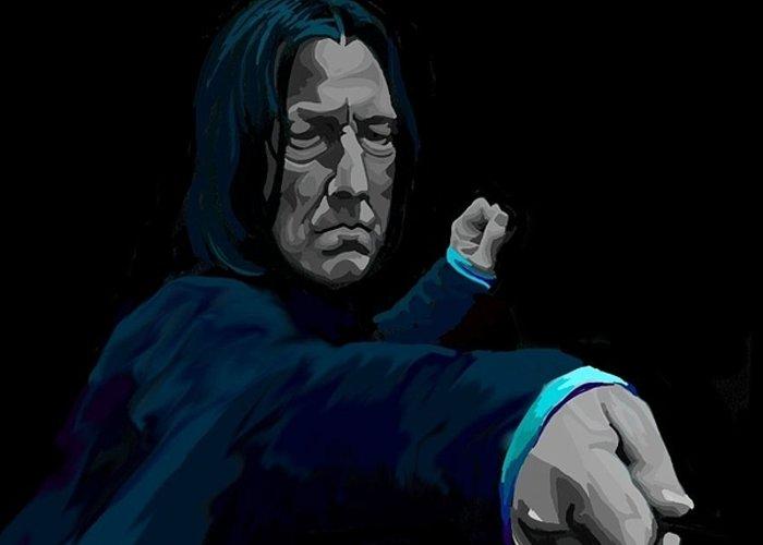 Snape Greeting Card featuring the digital art Severus by Lisa Leeman