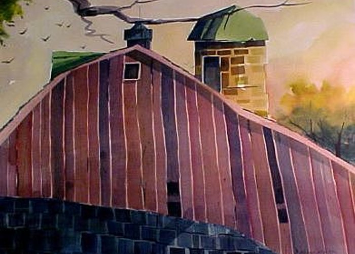 Farm Barn Silo Geometric Intense Color Mood Greeting Card featuring the painting Shiloh Retreat by Charlie Spear