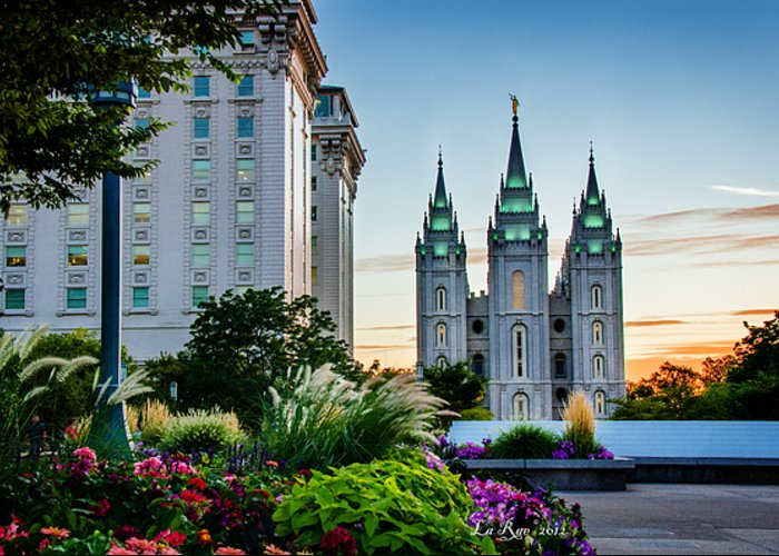 Mormon Temple Photography Greeting Card featuring the photograph Slc Temple Js Building by La Rae Roberts