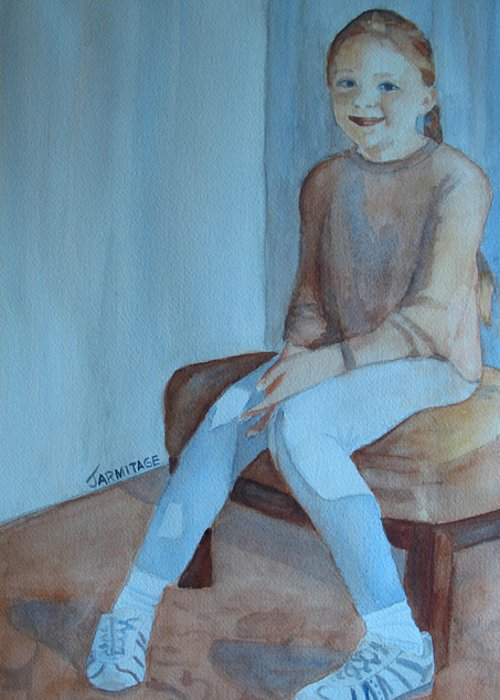 Girl Greeting Card featuring the painting Sneakers II by Jenny Armitage