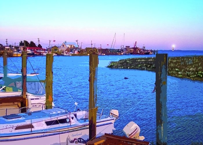 Southport Marina Greeting Card featuring the mixed media Southport Lights by Garland Johnson