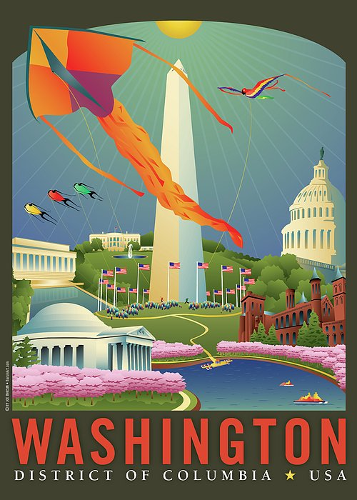 Kite Festival Greeting Card featuring the digital art Spring In Washington D.c. by Joe Barsin