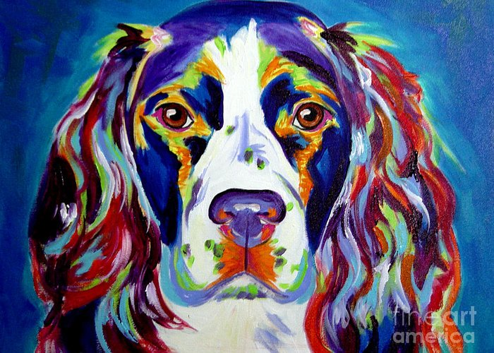 Dog Greeting Card featuring the painting Springer Spaniel - Cassie by Alicia VanNoy Call