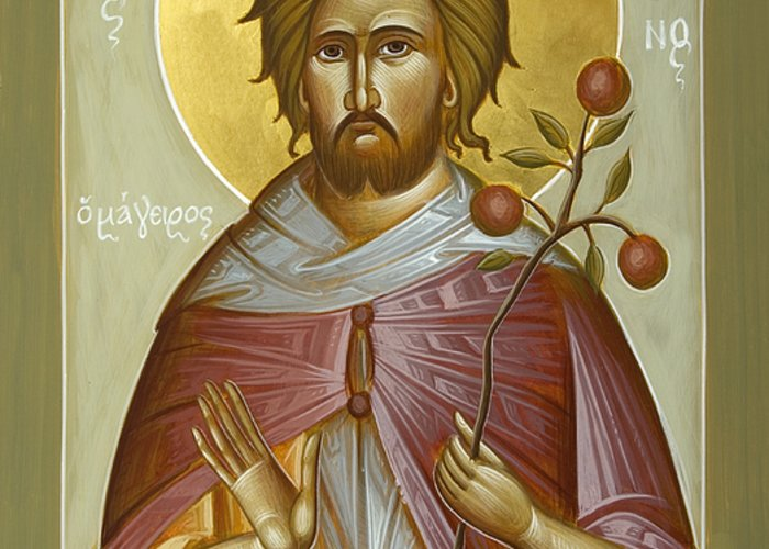 St Euphrosynos The Cook Greeting Card featuring the painting St Euphrosynos The Cook by Julia Bridget Hayes
