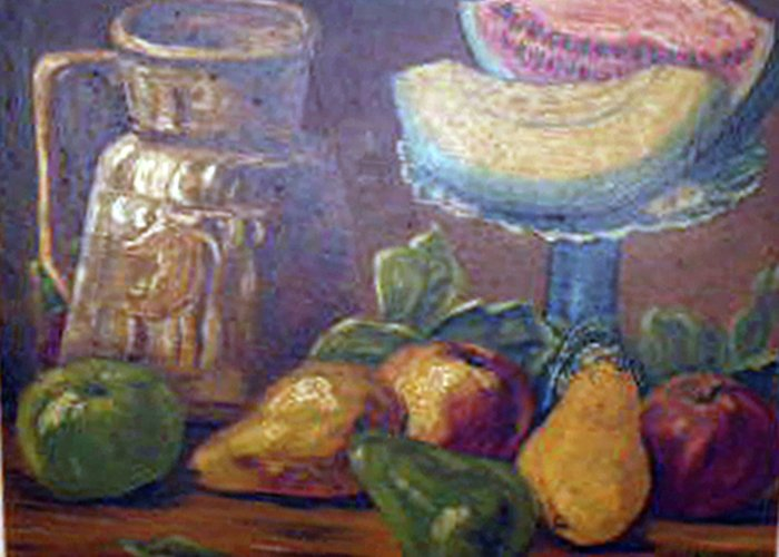 Still Life With Melons And Pears Greeting Card featuring the painting Still Life With Pears And Melons by Hilda Schreiber