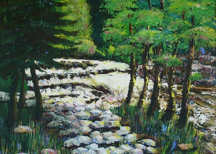 Waterfall Greeting Card featuring the painting Sunlit Waterfall by Art Nomad Sandra Hansen