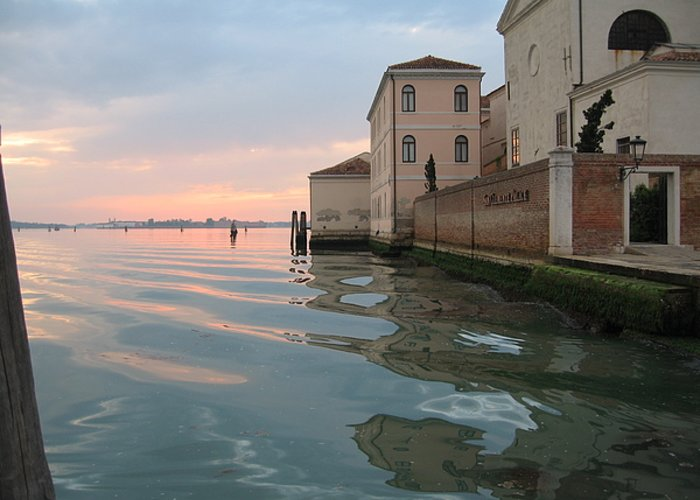 Sunrise Greeting Card featuring the photograph Sunrise On Isola Di San Clemente Venice by Harry Mason