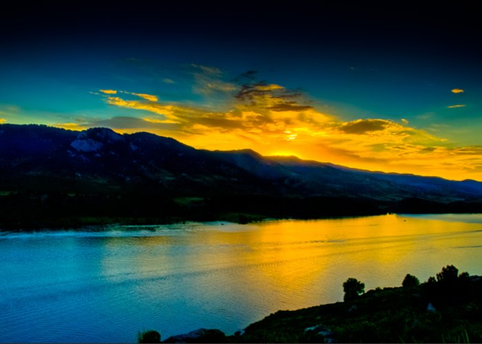 Sunset Greeting Card featuring the photograph Sunset At Horsetooth Reservoir by Harry Strharsky