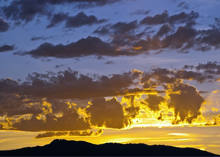 Fort Collins Greeting Card featuring the photograph Sunset Over Horsetooth Rock by Harry Strharsky