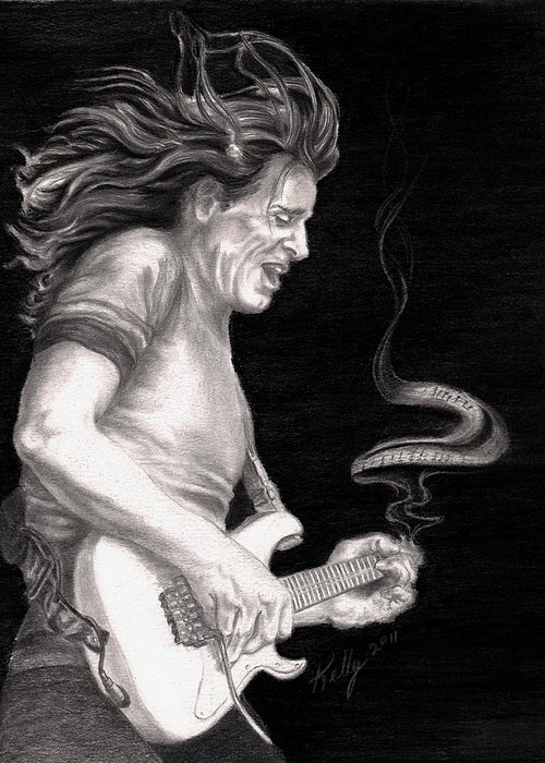 Steve Vai Greeting Card featuring the drawing The Audience Is Listening by Kathleen Kelly Thompson
