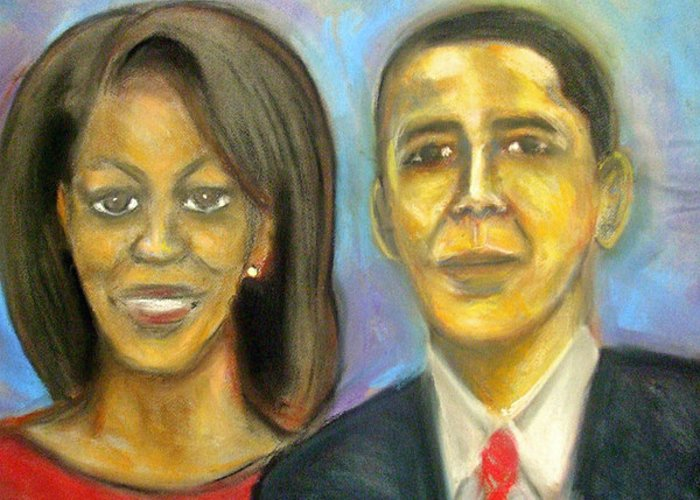 President; Obama; First Family; Michelle Obama; White House; Portrait Greeting Card featuring the drawing The First Couple by Jan Gilmore