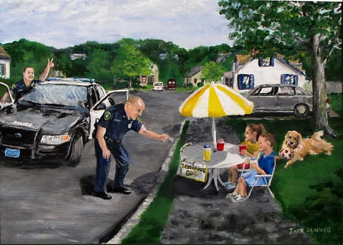 Police Greeting Card featuring the painting The Lemonade Stand by Jack Skinner