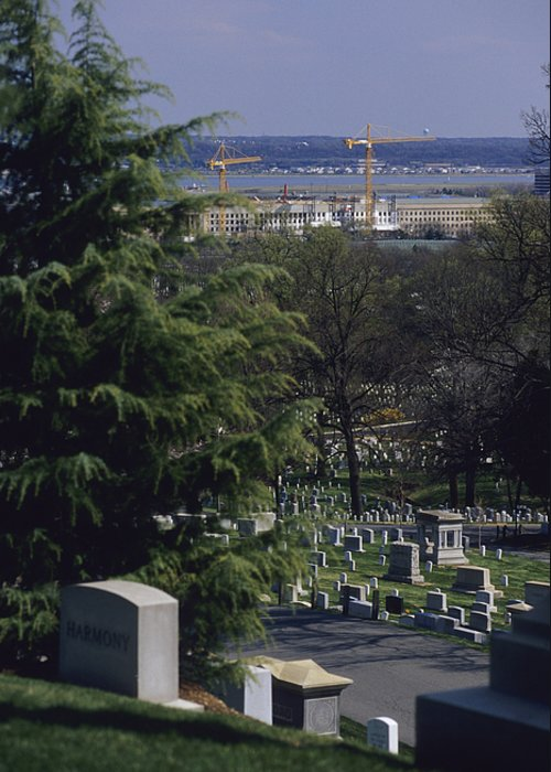 North America Greeting Card featuring the photograph The Pentagon Looms Behind Arlington by Raymond Gehman