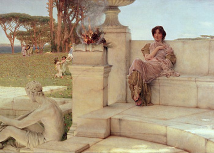 The Greeting Card featuring the painting The Voice Of Spring by Sir Lawrence Alma-Tadema