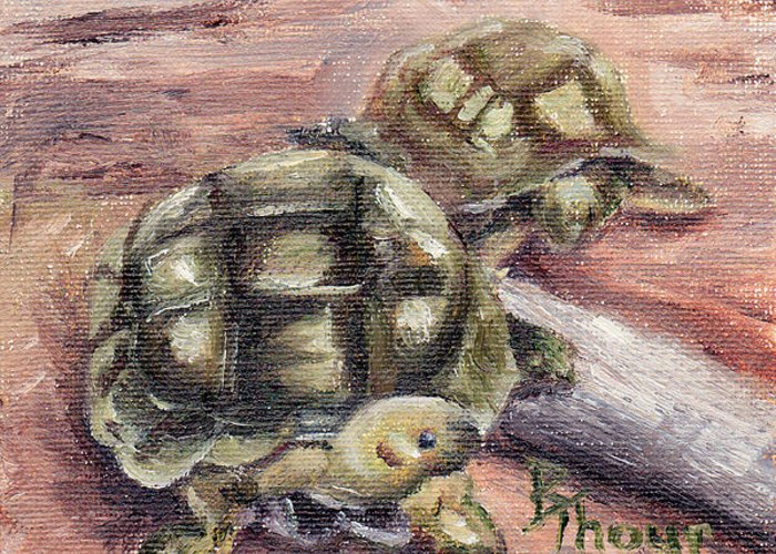 Turtle Greeting Card featuring the painting Turtle Friends by Brenda Thour