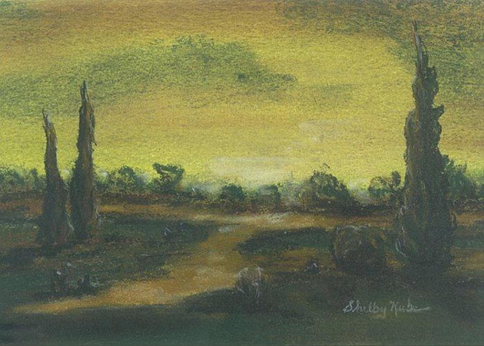 Tuscan Greeting Card featuring the pastel Tuscan Dusk 2 by Shelby Kube