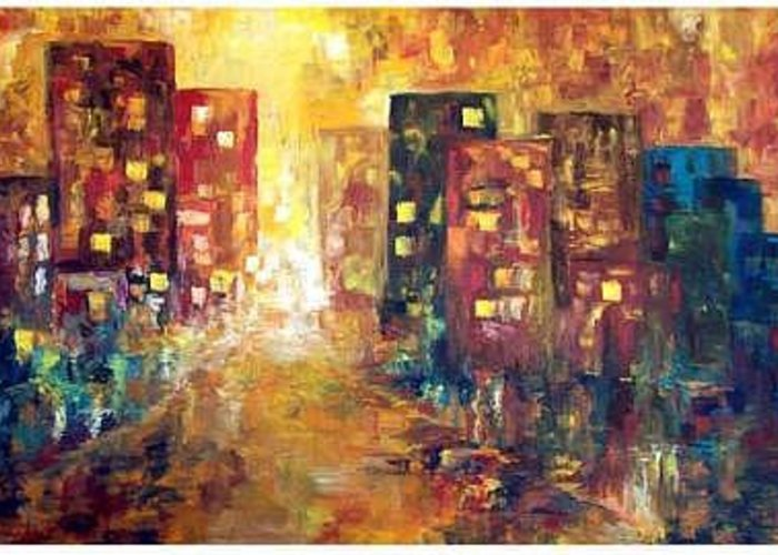 Cityscape Greeting Card featuring the painting Urban Alchemy by Laura Swink
