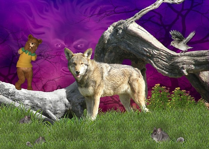 Wolf Greeting Card featuring the digital art Ut Oh by Morning Dew