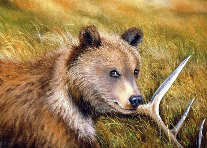 Grizzly Greeting Card featuring the painting Watchful Eye by Deb Owens-Lowe