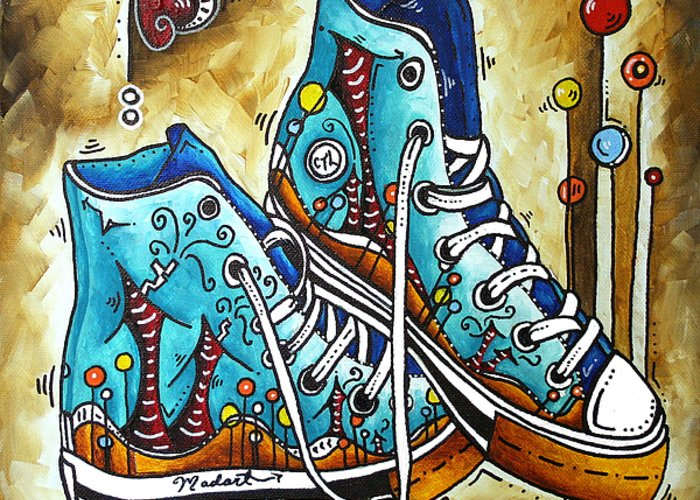 Original Greeting Card featuring the painting Whimsical Shoes By Madart by Megan Duncanson