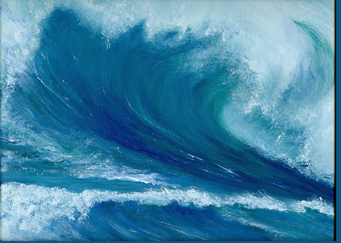 Wave Greeting Card featuring the painting Winter Wave by Laura Johnson