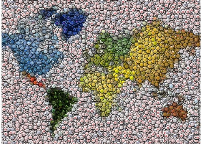 Bottlecaps Greeting Card featuring the digital art World Map Bottle Cap Mosaic by Paul Van Scott