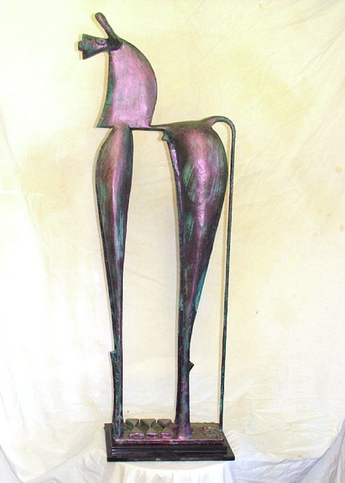 Sculpture Greeting Card featuring the sculpture Young Trumpeting Horse by Al Goldfarb