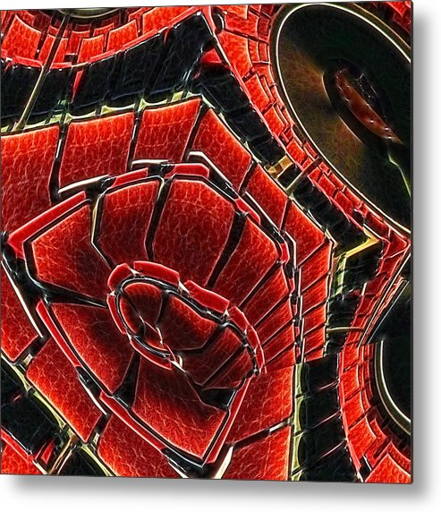 Red Metal Print featuring the digital art Seating Arrangement by Wendy J St Christopher
