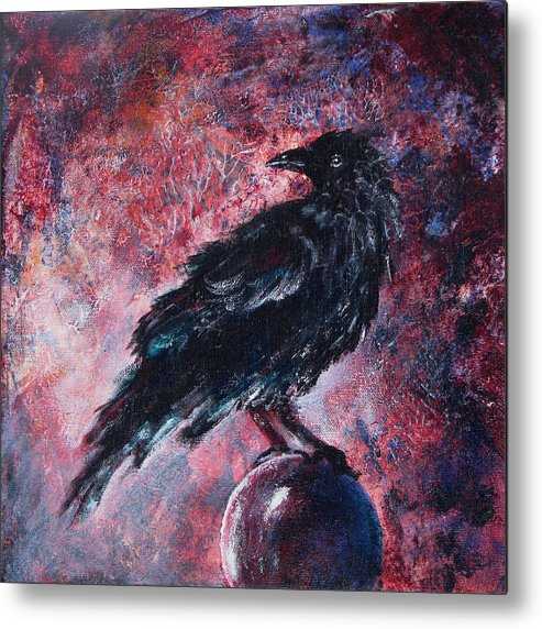 Raven Metal Print featuring the painting Grim And Ancient Raven by Sandy Applegate