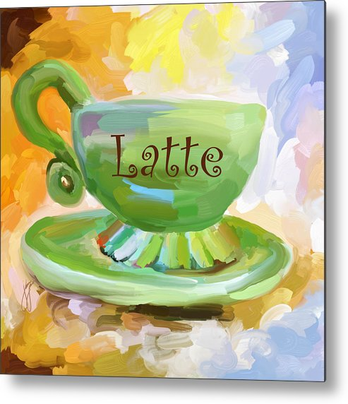 Coffee Metal Print featuring the painting Latte Coffee Cup by Jai Johnson