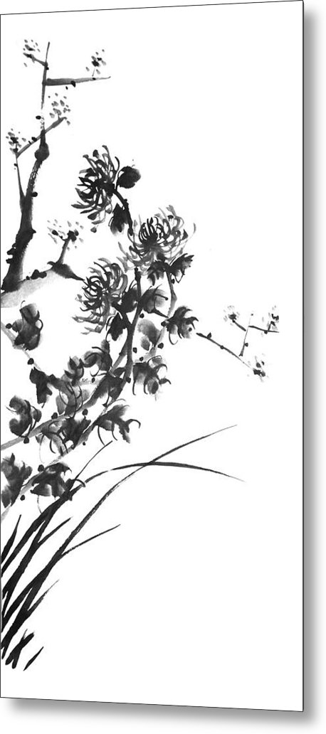 Japanese Metal Print featuring the painting Chrysanthemum2 by Chang Lee