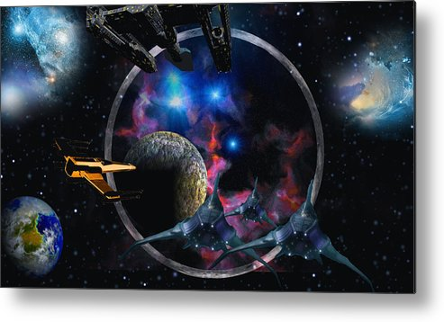 Scifi David Jackson Alienvisitor Space Metal Print featuring the digital art Andromeda Beckons by David Jackson
