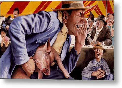 Country Fair Metal Print featuring the painting The Buffoon And The Countryman by Denny Bond