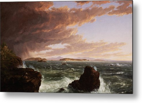 Stormy Weather Metal Print featuring the painting View Across Frenchman's Bay From Mt. Desert Island After A Squall by Thomas Cole