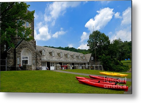 2 Seat Metal Print featuring the photograph Kayaks At Boat House by Amy Cicconi