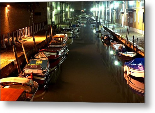 Venice Metal Print featuring the photograph Canal In Venice At Night by Michael Henderson