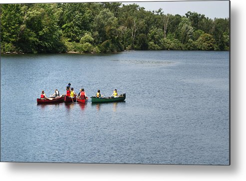 Canoe Metal Print featuring the photograph Canoes On Lake by Blink Images