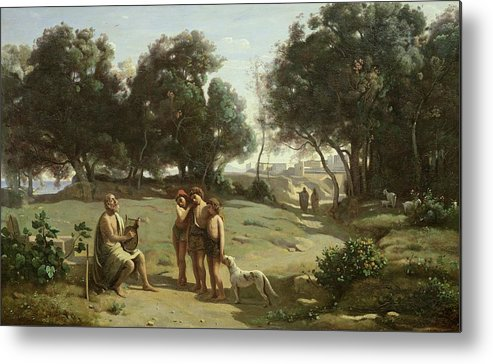 Homer Metal Print featuring the painting Homer And The Shepherds In A Landscape by Jean Baptiste Camille Corot
