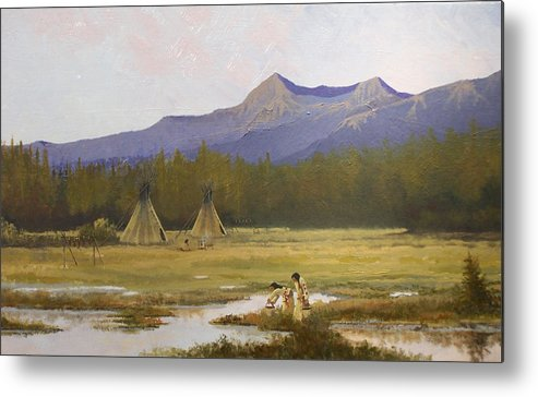 Landscape & Figures Metal Print featuring the painting Indian Camp by Dalas Klein