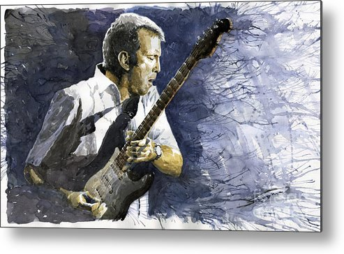 Eric Clapton Metal Print featuring the painting Jazz Eric Clapton 1 by Yuriy Shevchuk