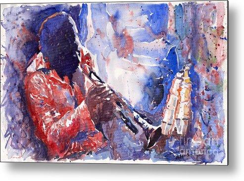 Jazz Metal Print featuring the painting Jazz Miles Davis 15 by Yuriy Shevchuk