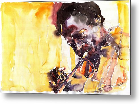 Jazz Music Watercolor Watercolour Miles Davis Trumpeter Portret Metal Print featuring the painting Jazz Miles Davis 6 by Yuriy Shevchuk