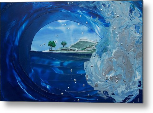 Wave Metal Print featuring the painting North Shore Window Barrel Right by Danita Cole