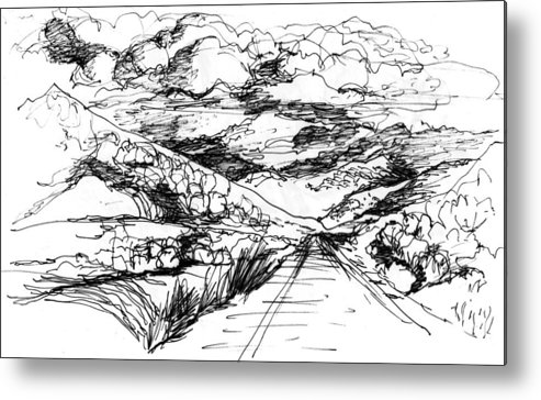Metal Print featuring the drawing Road To Palmdale 1 by Lily Hymen