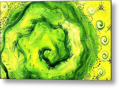 Green Metal Print featuring the painting Spiral Of The Heart by Chandelle Hazen