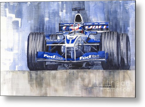 Watercolour Metal Print featuring the painting Williams Bmw Fw24 2002 Juan Pablo Montoya by Yuriy Shevchuk