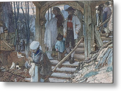 Hague School Metal Print featuring the drawing The Christening Gate In Lausanne, C.1861 by Matthijs Maris